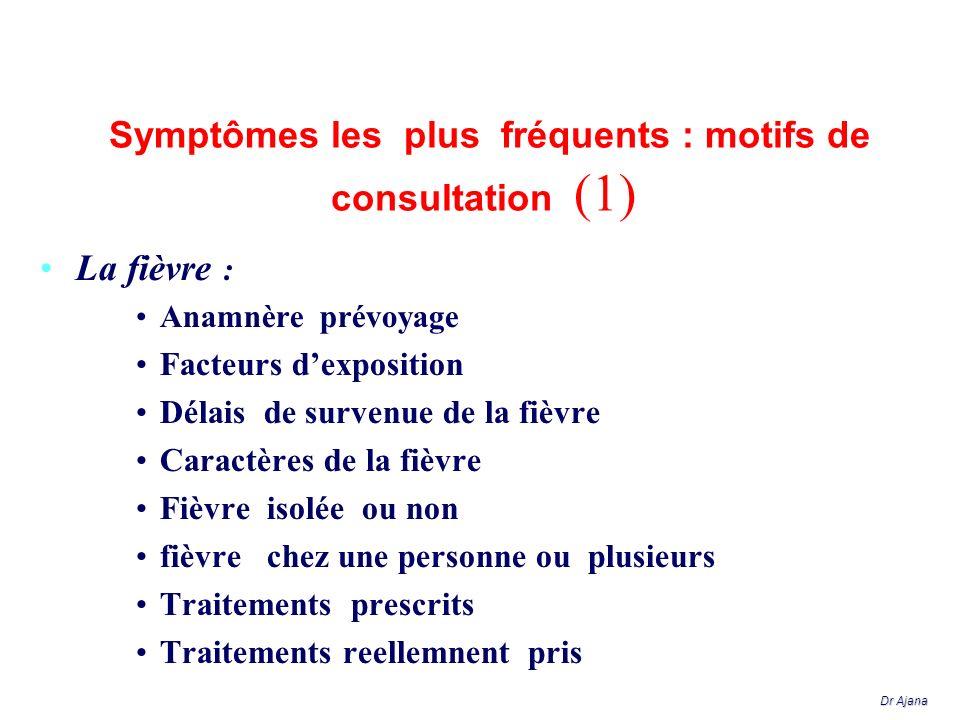 Symptômes les plus fréquents : motifs de consultation (2) Digestifs: : Douleurs épigastriques pseudoulcéreuses ( anguil- lulose - ankylostomiase ) ou pseudoappendiculaire (oxyurose), ou hépatique (distomatose, amibiase..) Troubles du transit (parasitose, salmonelloses...) Elimination des vers Sd dysenteriforme (amibiasr, shigelles salmonelles, campylobacter) Dr Ajana