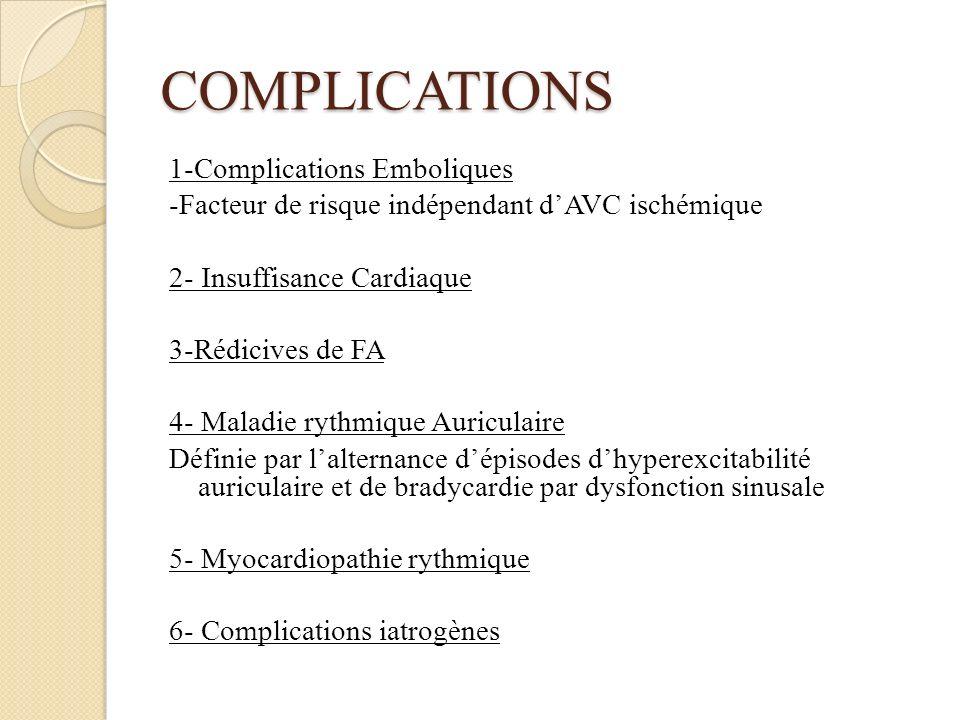 COMPLICATIONS 1-Complications Emboliques -Facteur de risque indépendant dAVC ischémique 2- Insuffisance Cardiaque 3-Rédicives de FA 4- Maladie rythmique Auriculaire Définie par lalternance dépisodes dhyperexcitabilité auriculaire et de bradycardie par dysfonction sinusale 5- Myocardiopathie rythmique 6- Complications iatrogènes