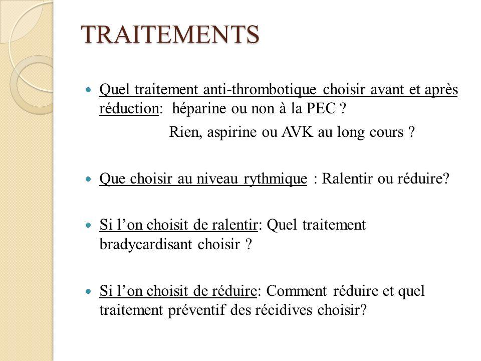 TRAITEMENTS Quel traitement anti-thrombotique choisir avant et après réduction: héparine ou non à la PEC ? Rien, aspirine ou AVK au long cours ? Que c