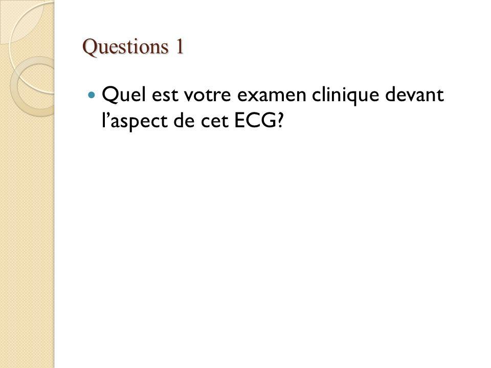 Questions 1 Quel est votre examen clinique devant laspect de cet ECG?