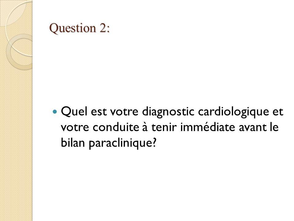 Question 2: Quel est votre diagnostic cardiologique et votre conduite à tenir immédiate avant le bilan paraclinique?