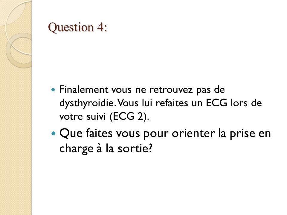 Question 4: Finalement vous ne retrouvez pas de dysthyroidie. Vous lui refaites un ECG lors de votre suivi (ECG 2). Que faites vous pour orienter la p