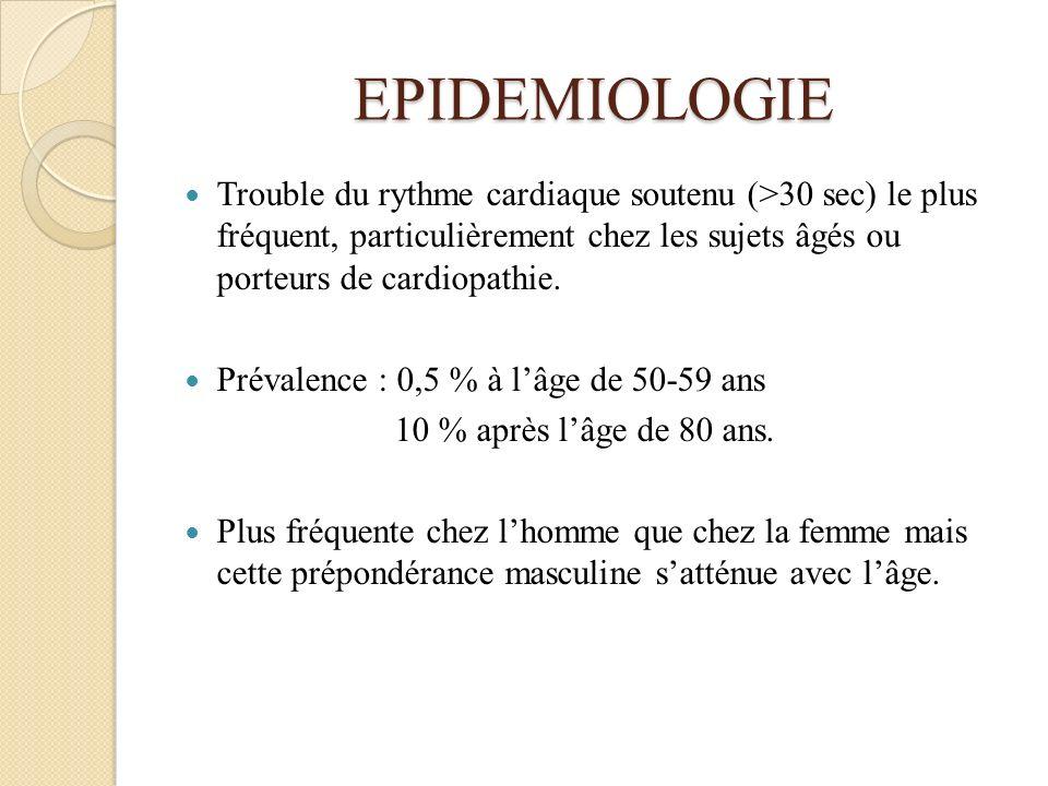 EPIDEMIOLOGIE Trouble du rythme cardiaque soutenu (>30 sec) le plus fréquent, particulièrement chez les sujets âgés ou porteurs de cardiopathie. Préva