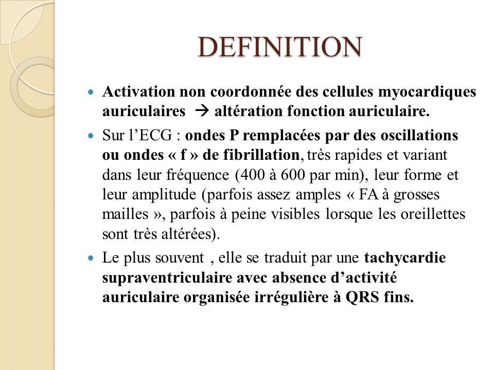 DEFINITION Activation non coordonnée des cellules myocardiques auriculaires altération fonction auriculaire. Sur lECG : ondes P remplacées par des osc