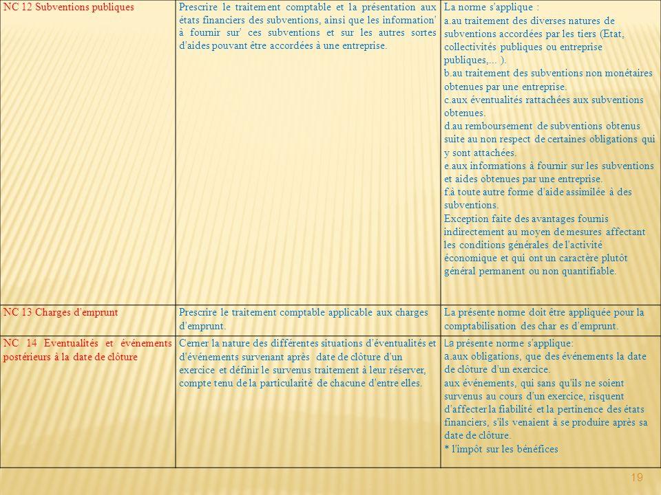 19 NC 12 Subventions publiques Prescrire le traitement comptable et la présentation aux états financiers des subventions, ainsi que les information' à