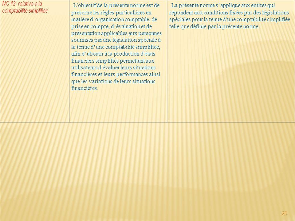 26 NC 42 relative a la comptabilité simplifiée L'objectif de la présente norme est de prescrire les règles particulières en matière dorganisation comp