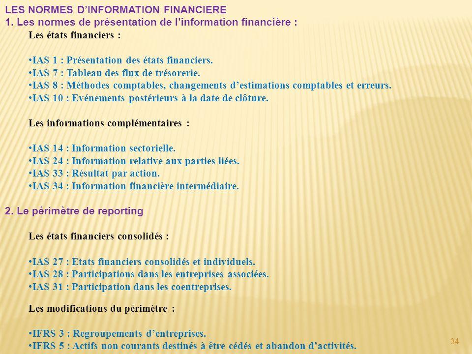 34 LES NORMES DINFORMATION FINANCIERE 1. Les normes de présentation de linformation financière : Les états financiers : IAS 1 : Présentation des états