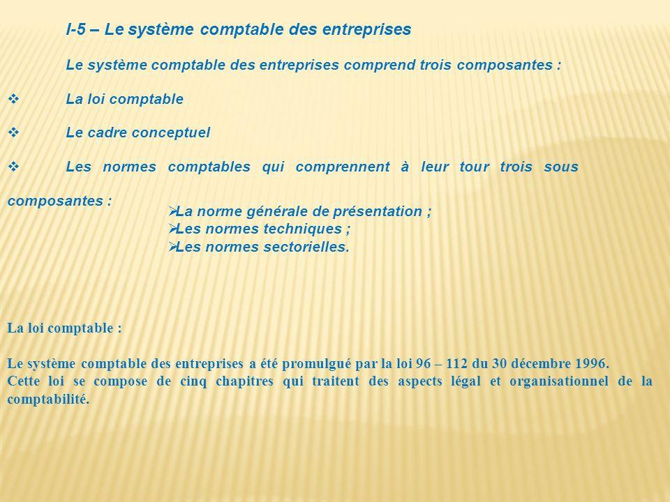 I-5 – Le système comptable des entreprises Le système comptable des entreprises comprend trois composantes : La loi comptable Le cadre conceptuel Les