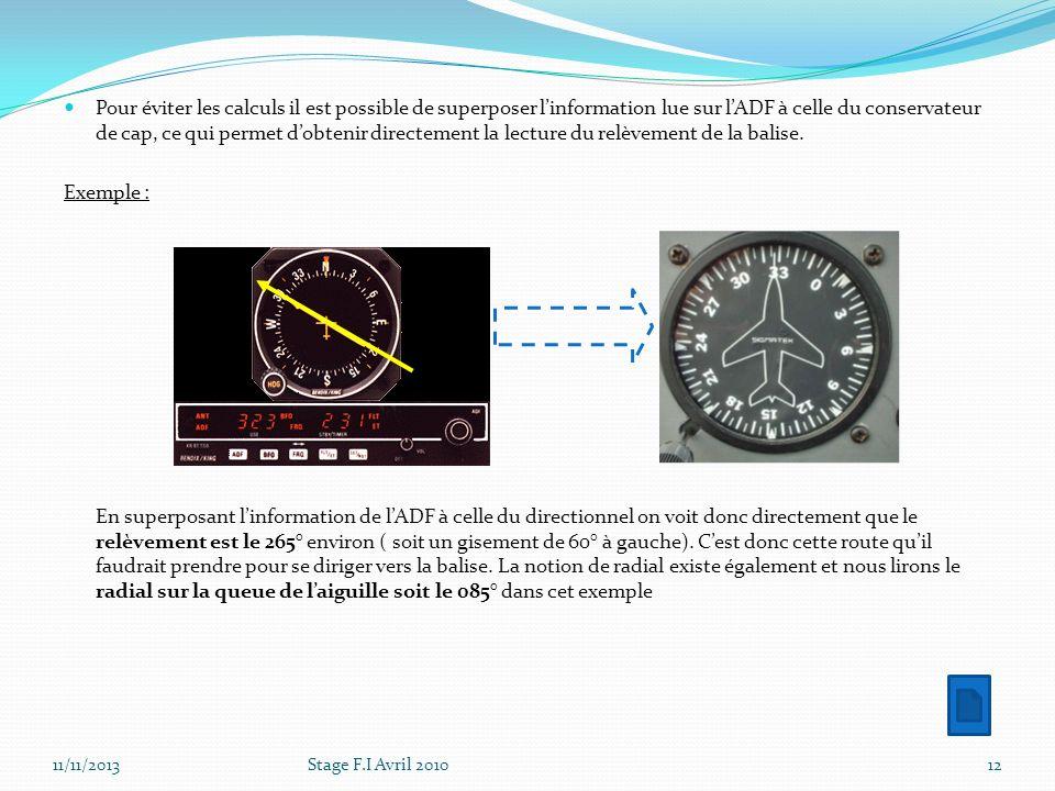 Pour éviter les calculs il est possible de superposer linformation lue sur lADF à celle du conservateur de cap, ce qui permet dobtenir directement la