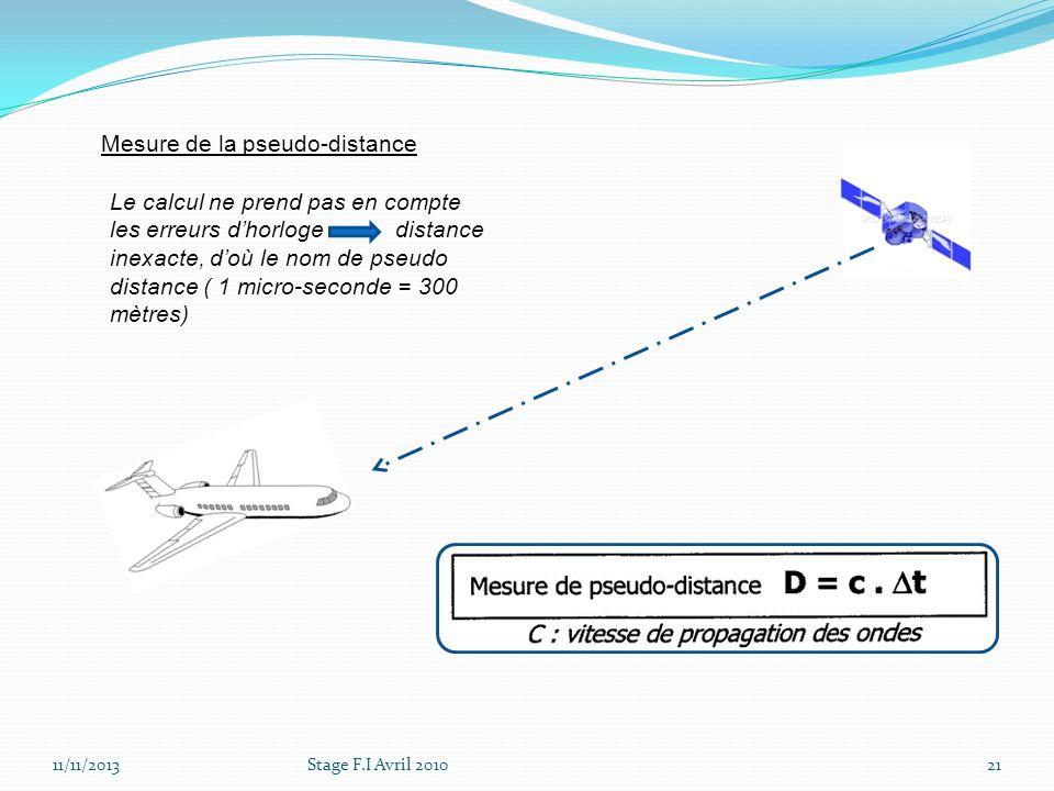 11/11/2013Stage F.I Avril 201021 Mesure de la pseudo-distance Le calcul ne prend pas en compte les erreurs dhorloge distance inexacte, doù le nom de p