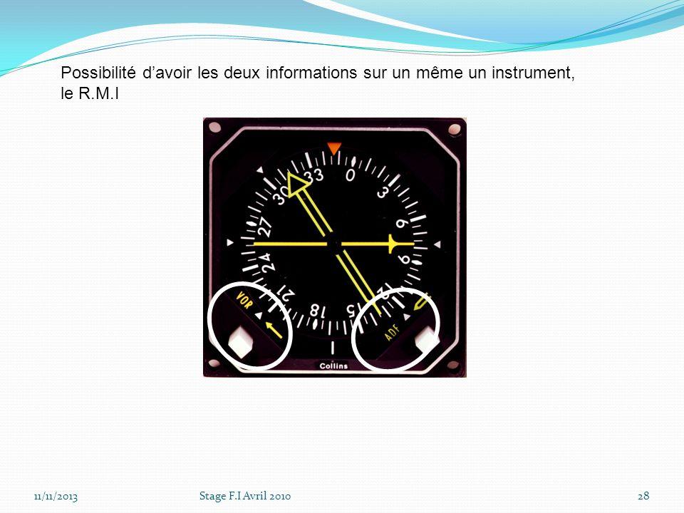 11/11/2013Stage F.I Avril 201028 Possibilité davoir les deux informations sur un même un instrument, le R.M.I