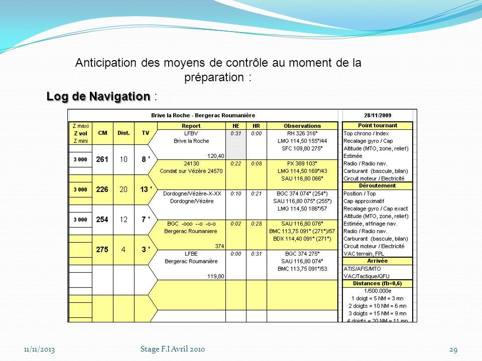 11/11/2013Stage F.I Avril 201029 Anticipation des moyens de contrôle au moment de la préparation : Log de Navigation Log de Navigation :