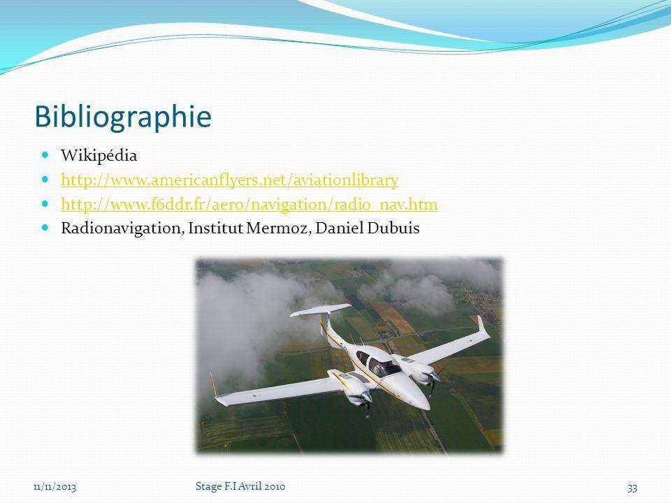 Bibliographie Wikipédia http://www.americanflyers.net/aviationlibrary http://www.f6ddr.fr/aero/navigation/radio_nav.htm Radionavigation, Institut Merm