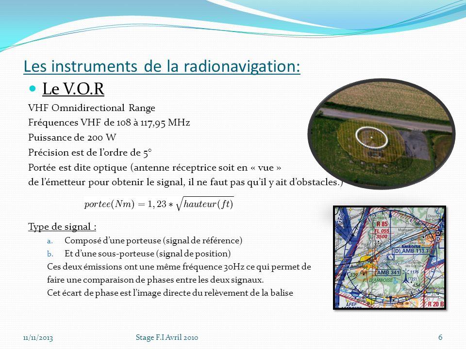 Les instruments de la radionavigation: Le V.O.R VHF Omnidirectional Range Fréquences VHF de 108 à 117,95 MHz Puissance de 200 W Précision est de lordr