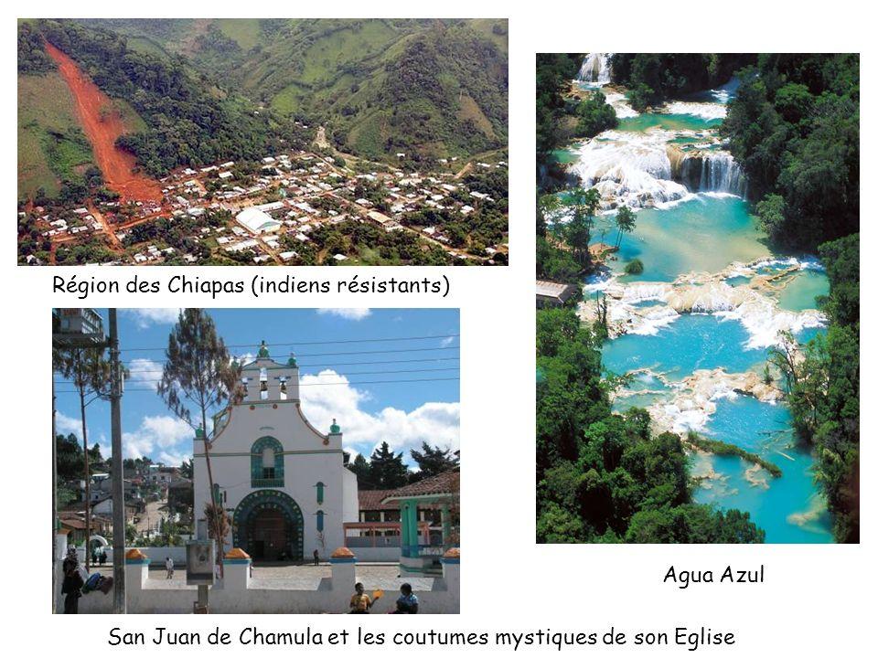 Région des Chiapas (indiens résistants) Agua Azul San Juan de Chamula et les coutumes mystiques de son Eglise