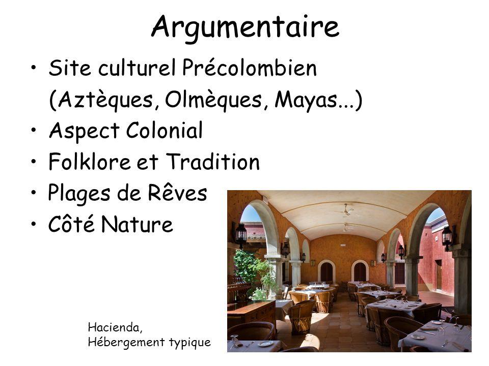 Argumentaire Site culturel Précolombien (Aztèques, Olmèques, Mayas...) Aspect Colonial Folklore et Tradition Plages de Rêves Côté Nature Hacienda, Héb