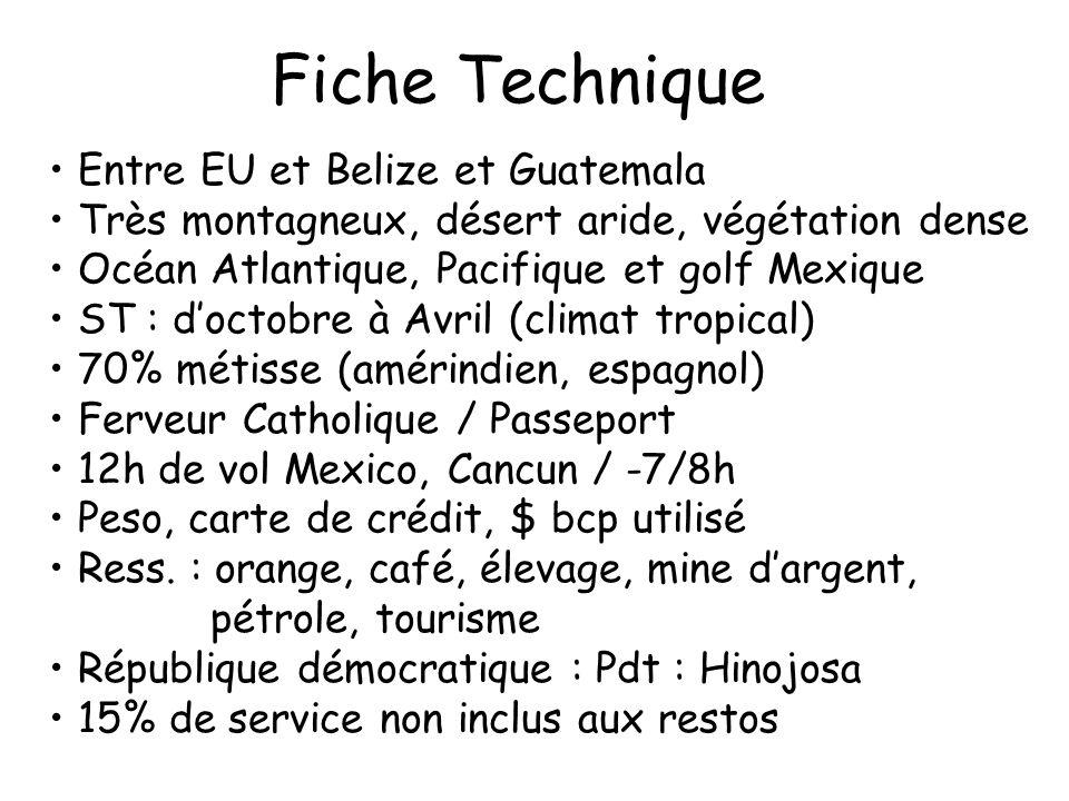 Fiche Technique Entre EU et Belize et Guatemala Très montagneux, désert aride, végétation dense Océan Atlantique, Pacifique et golf Mexique ST : docto