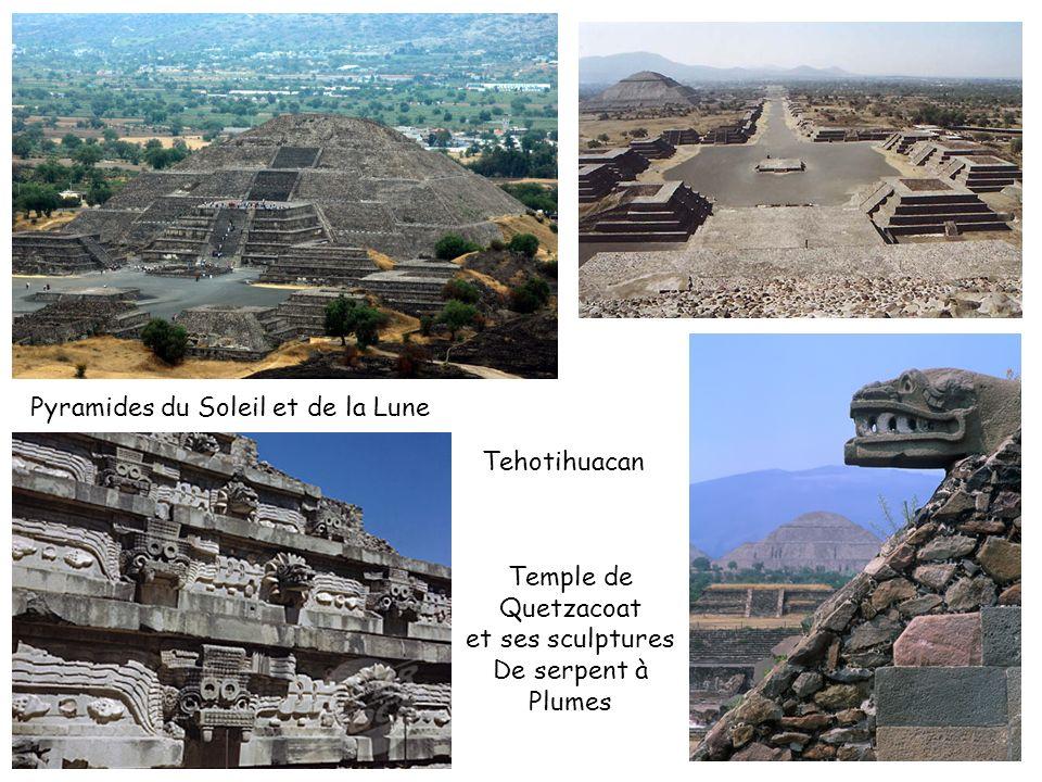 Tehotihuacan Temple de Quetzacoat et ses sculptures De serpent à Plumes Pyramides du Soleil et de la Lune