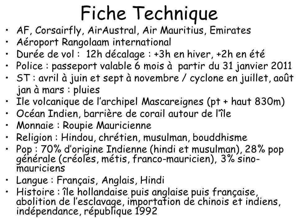 Fiche Technique AF, Corsairfly, AirAustral, Air Mauritius, Emirates Aéroport Rangolaam international Durée de vol : 12h décalage : +3h en hiver, +2h e