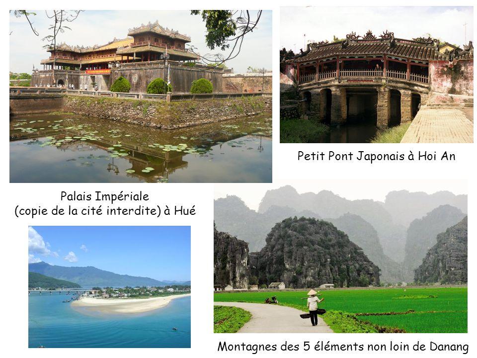 Palais Impériale (copie de la cité interdite) à Hué Petit Pont Japonais à Hoi An Montagnes des 5 éléments non loin de Danang