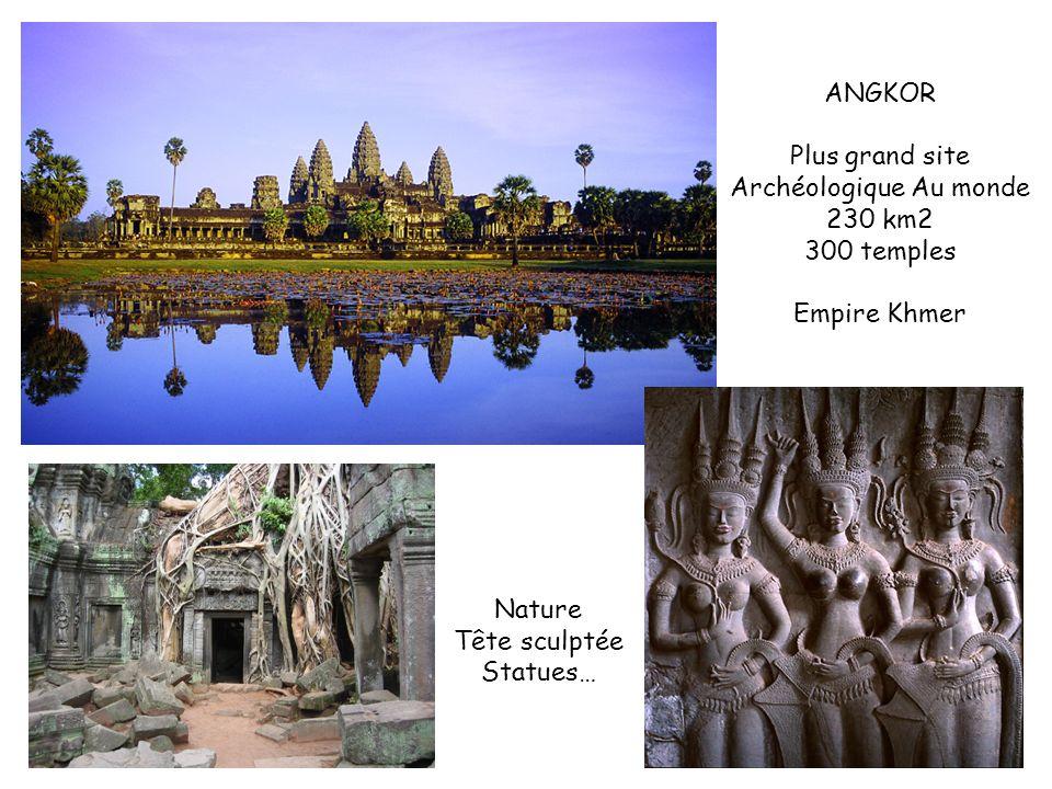 ANGKOR Plus grand site Archéologique Au monde 230 km2 300 temples Empire Khmer Nature Tête sculptée Statues…
