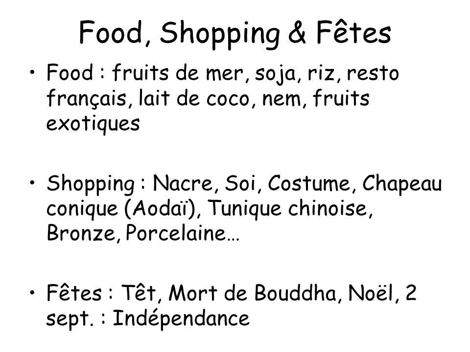 Food, Shopping & Fêtes Food : fruits de mer, soja, riz, resto français, lait de coco, nem, fruits exotiques Shopping : Nacre, Soi, Costume, Chapeau co