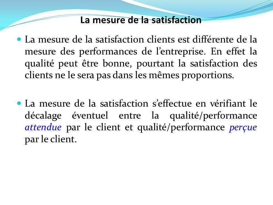 La mesure de la satisfaction clients est différente de la mesure des performances de lentreprise. En effet la qualité peut être bonne, pourtant la sat