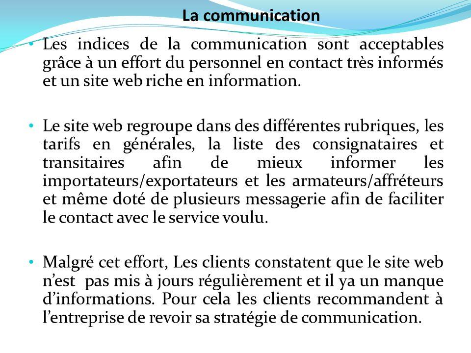 Les indices de la communication sont acceptables grâce à un effort du personnel en contact très informés et un site web riche en information. Le site