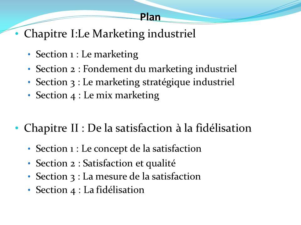 Chapitre I:Le Marketing industriel Section 1 : Le marketing Section 2 : Fondement du marketing industriel Section 3 : Le marketing stratégique industr