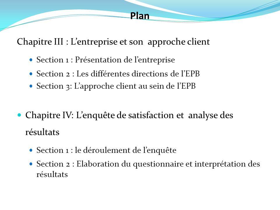 Chapitre III : Lentreprise et son approche client Section 1 : Présentation de lentreprise Section 2 : Les différentes directions de lEPB Section 3: La