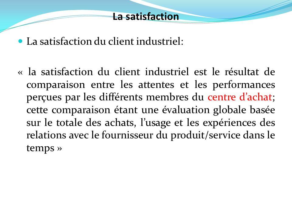 La satisfaction du client industriel: « la satisfaction du client industriel est le résultat de comparaison entre les attentes et les performances per