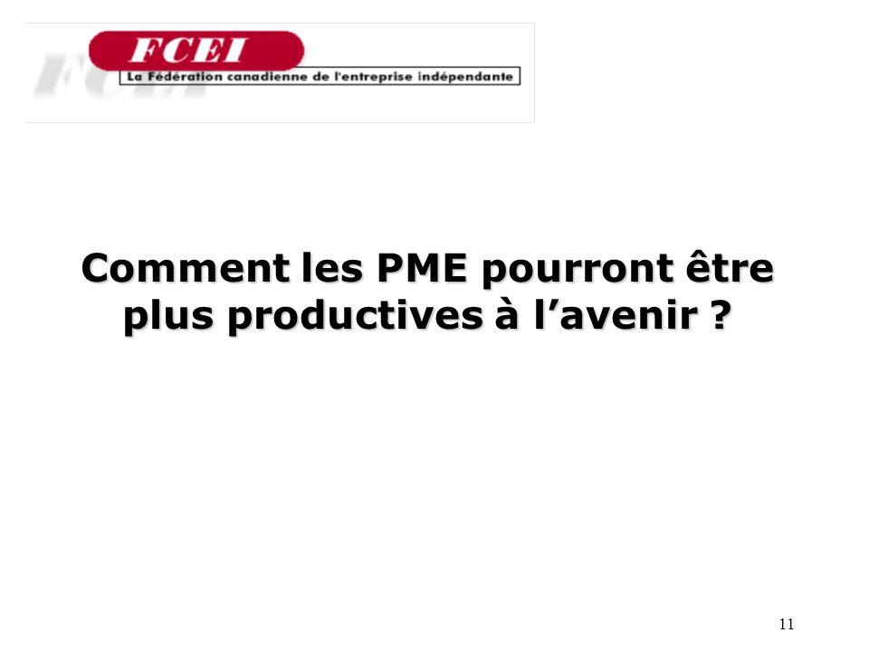 11 Nombre de PME participantes, par secteur Comment les PME pourront être plus productives à lavenir