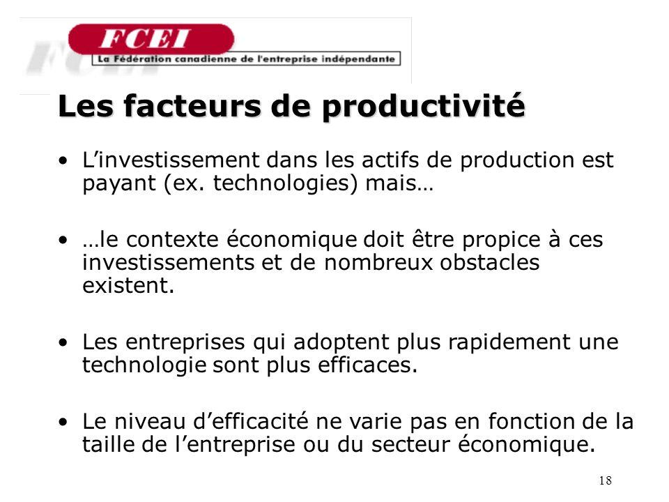18 Nombre de PME participantes, par secteur Les facteurs de productivité Linvestissement dans les actifs de production est payant (ex.