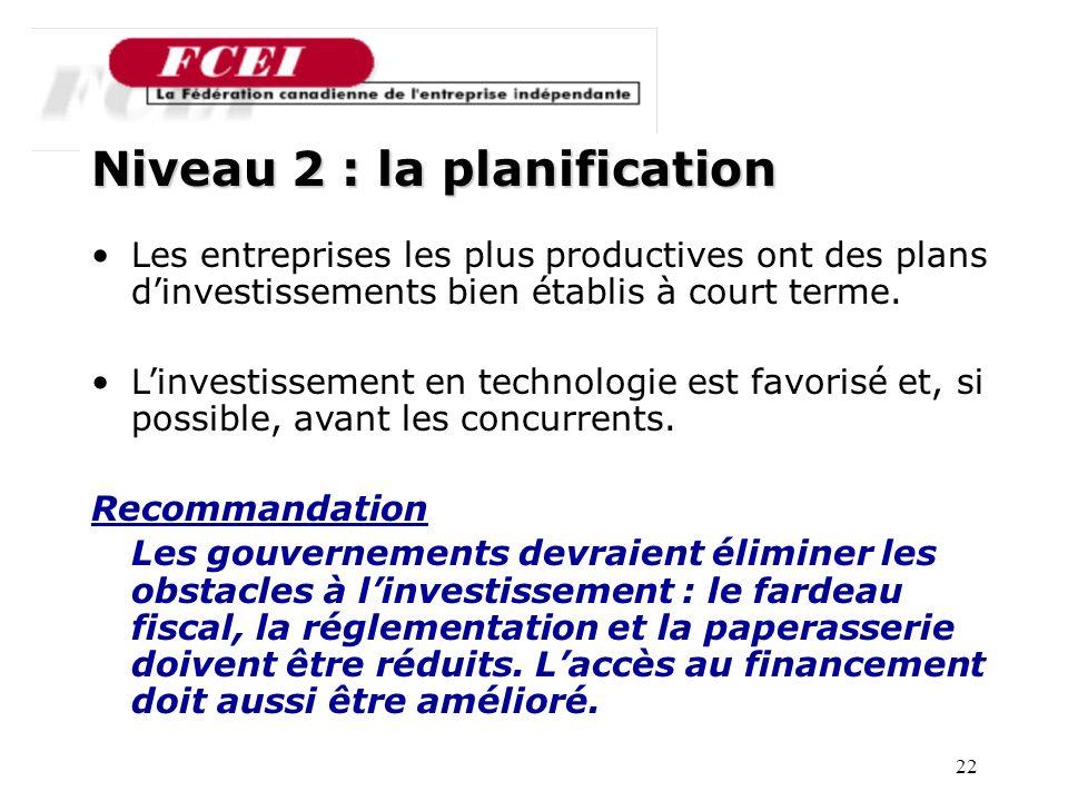 22 Nombre de PME participantes, par secteur Niveau 2 : la planification Les entreprises les plus productives ont des plans dinvestissements bien établis à court terme.