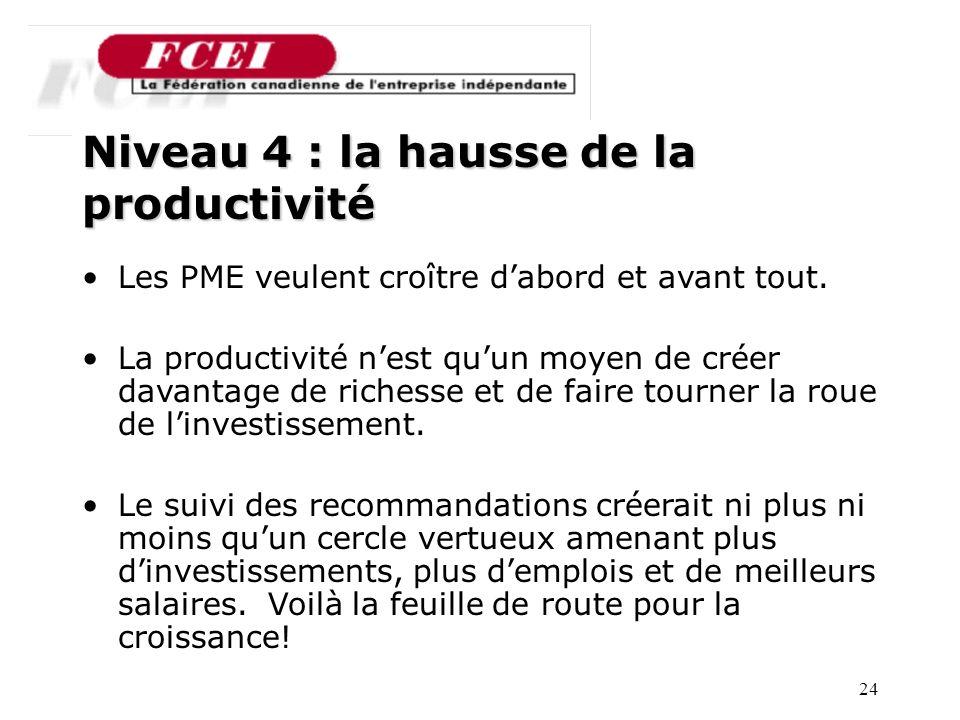 24 Nombre de PME participantes, par secteur Niveau 4 : la hausse de la productivité Les PME veulent croître dabord et avant tout.