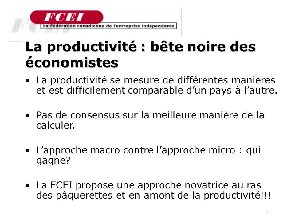 3 Nombre de PME participantes, par secteur La productivité : bête noire des économistes La productivité se mesure de différentes manières et est difficilement comparable dun pays à lautre.