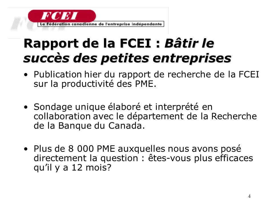 4 Nombre de PME participantes, par secteur Rapport de la FCEI : Bâtir le succès des petites entreprises Publication hier du rapport de recherche de la FCEI sur la productivité des PME.