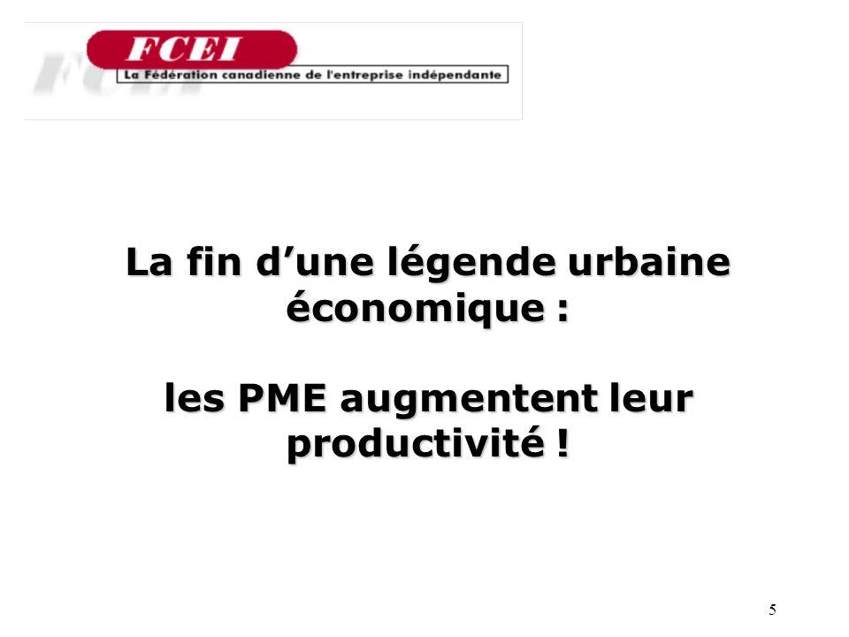 5 Nombre de PME participantes, par secteur La fin dune légende urbaine économique : les PME augmentent leur productivité !