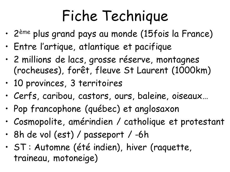 Fiche Technique 2 ème plus grand pays au monde (15fois la France) Entre lartique, atlantique et pacifique 2 millions de lacs, grosse réserve, montagne