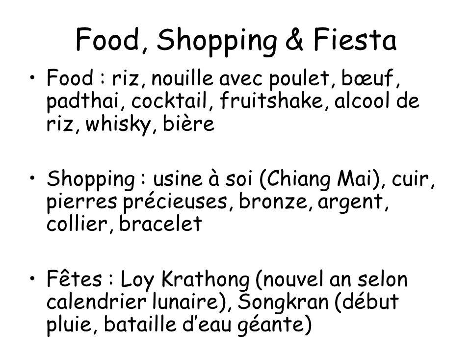 Food, Shopping & Fiesta Food : riz, nouille avec poulet, bœuf, padthai, cocktail, fruitshake, alcool de riz, whisky, bière Shopping : usine à soi (Chi