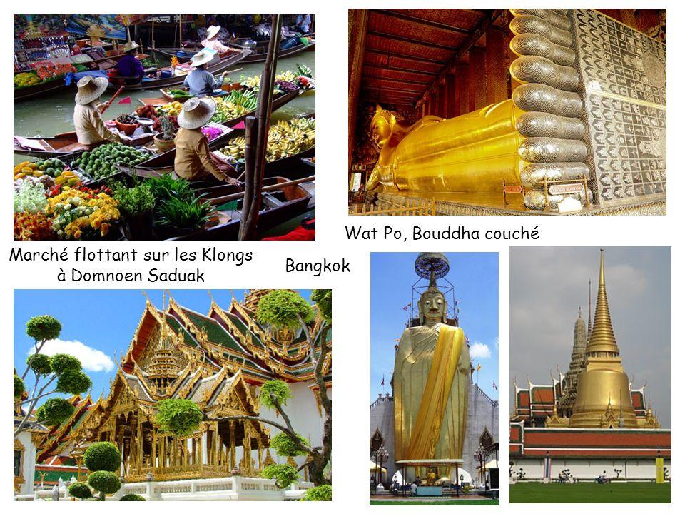 Marché flottant sur les Klongs à Domnoen Saduak Bangkok Wat Po, Bouddha couché