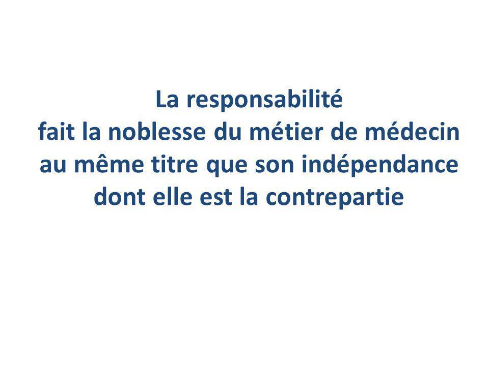 La responsabilité fait la noblesse du métier de médecin au même titre que son indépendance dont elle est la contrepartie