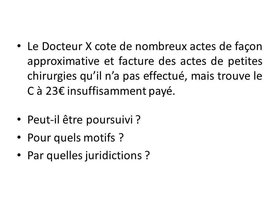 Le Docteur X cote de nombreux actes de façon approximative et facture des actes de petites chirurgies quil na pas effectué, mais trouve le C à 23 insuffisamment payé.