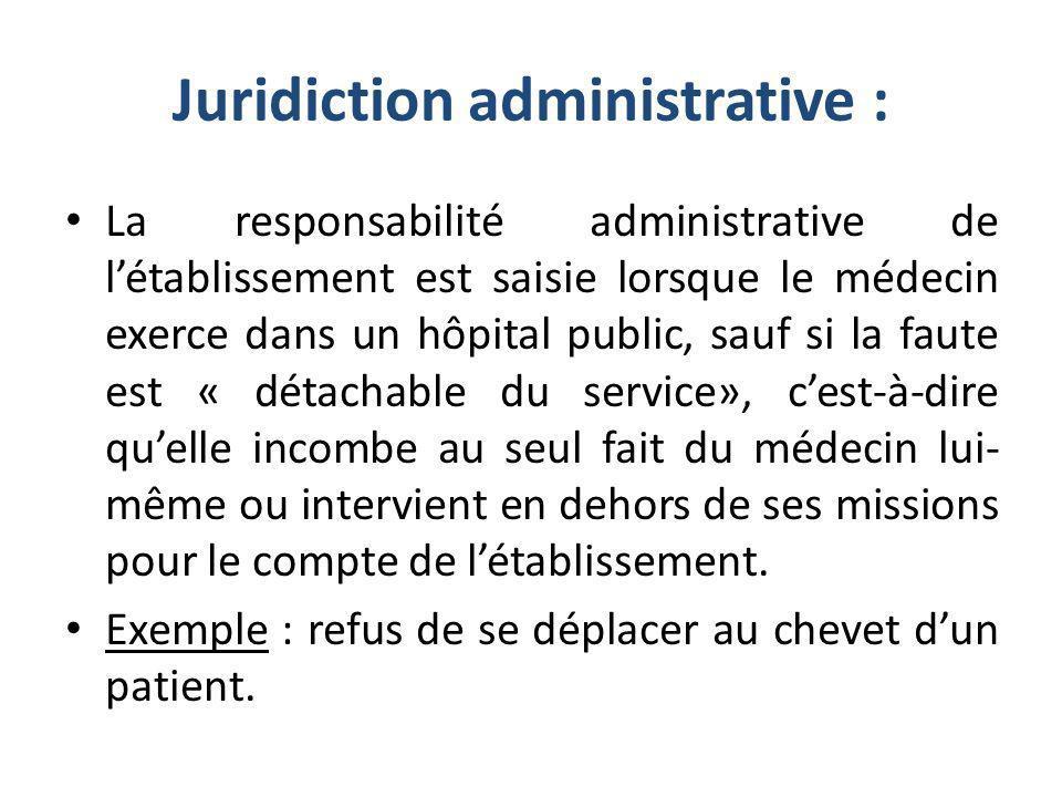 Juridiction administrative : La responsabilité administrative de létablissement est saisie lorsque le médecin exerce dans un hôpital public, sauf si l