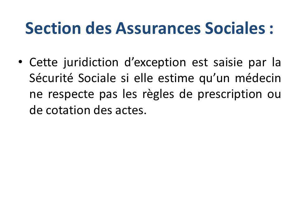 Section des Assurances Sociales : Cette juridiction dexception est saisie par la Sécurité Sociale si elle estime quun médecin ne respecte pas les règl
