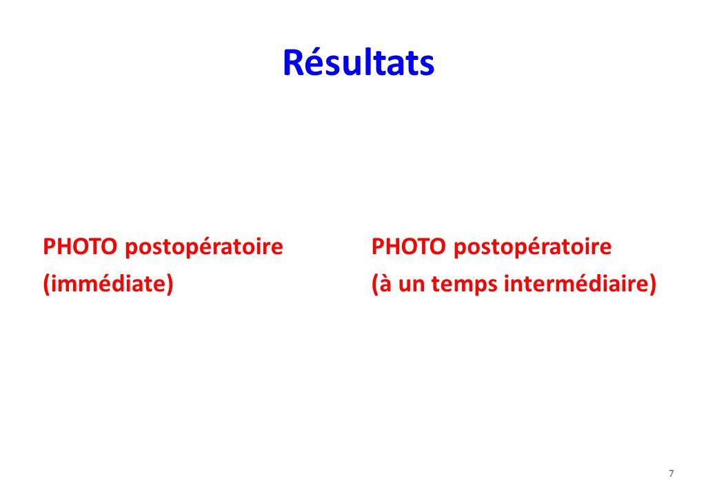 Résultats PHOTO postopératoire (immédiate) PHOTO postopératoire (à un temps intermédiaire) 7