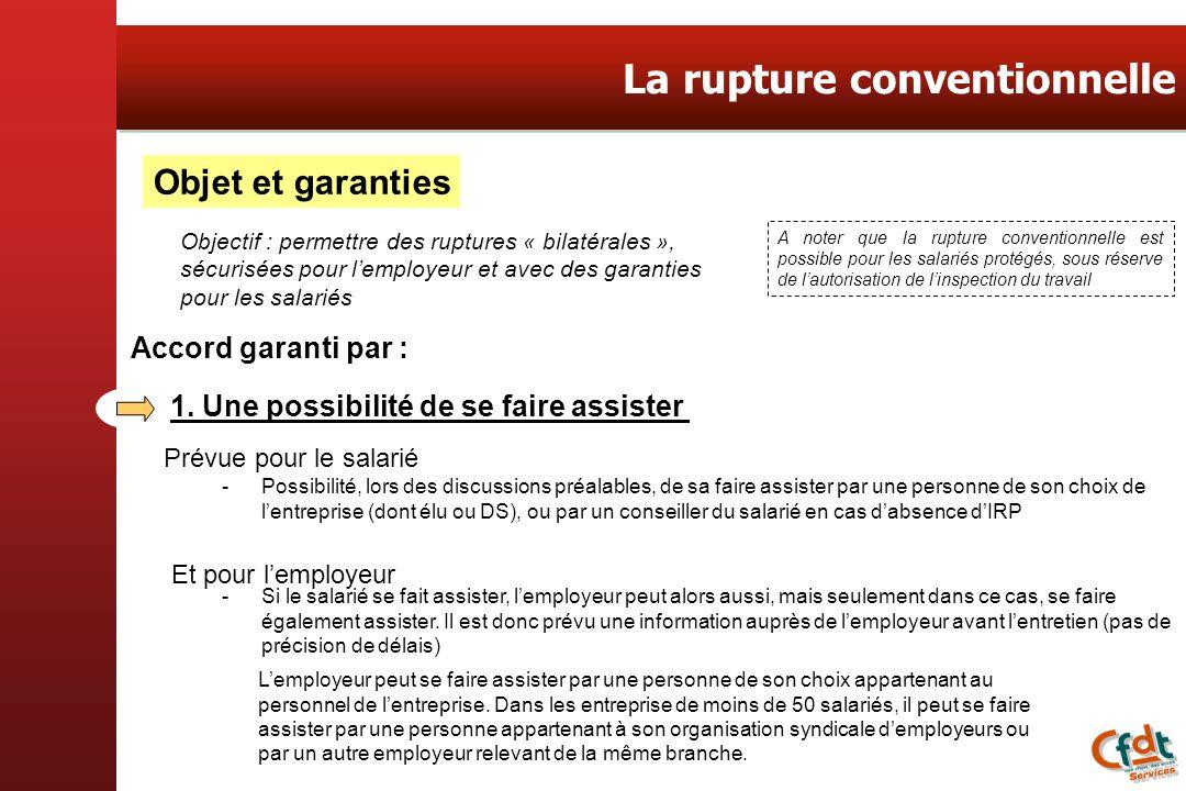Objet et garanties Objectif : permettre des ruptures « bilatérales », sécurisées pour lemployeur et avec des garanties pour les salariés Accord garant