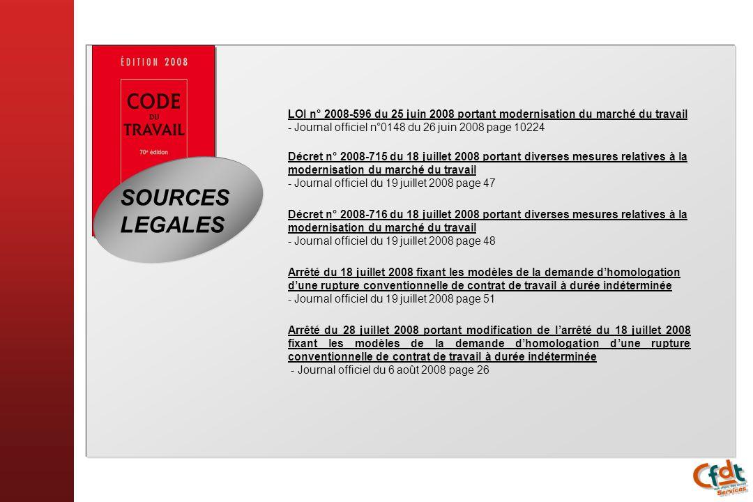 SOURCES LEGALES LOI n° 2008-596 du 25 juin 2008 portant modernisation du marché du travail - Journal officiel n°0148 du 26 juin 2008 page 10224 Décret