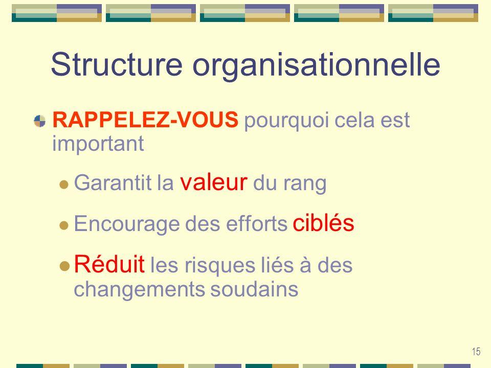 15 Structure organisationnelle RAPPELEZ-VOUS pourquoi cela est important Garantit la valeur du rang Encourage des efforts ciblés Réduit les risques li