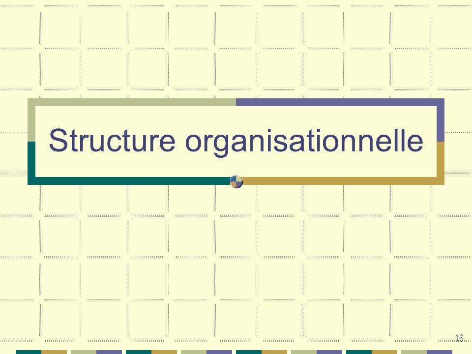 16 Structure organisationnelle